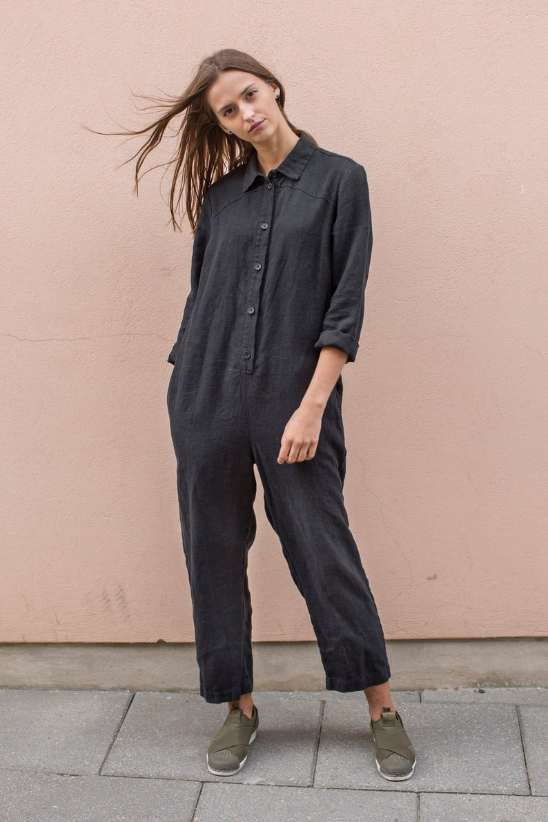 39383eaf93ca NEW Long sleeve black linen jumpsuit. Loose fit