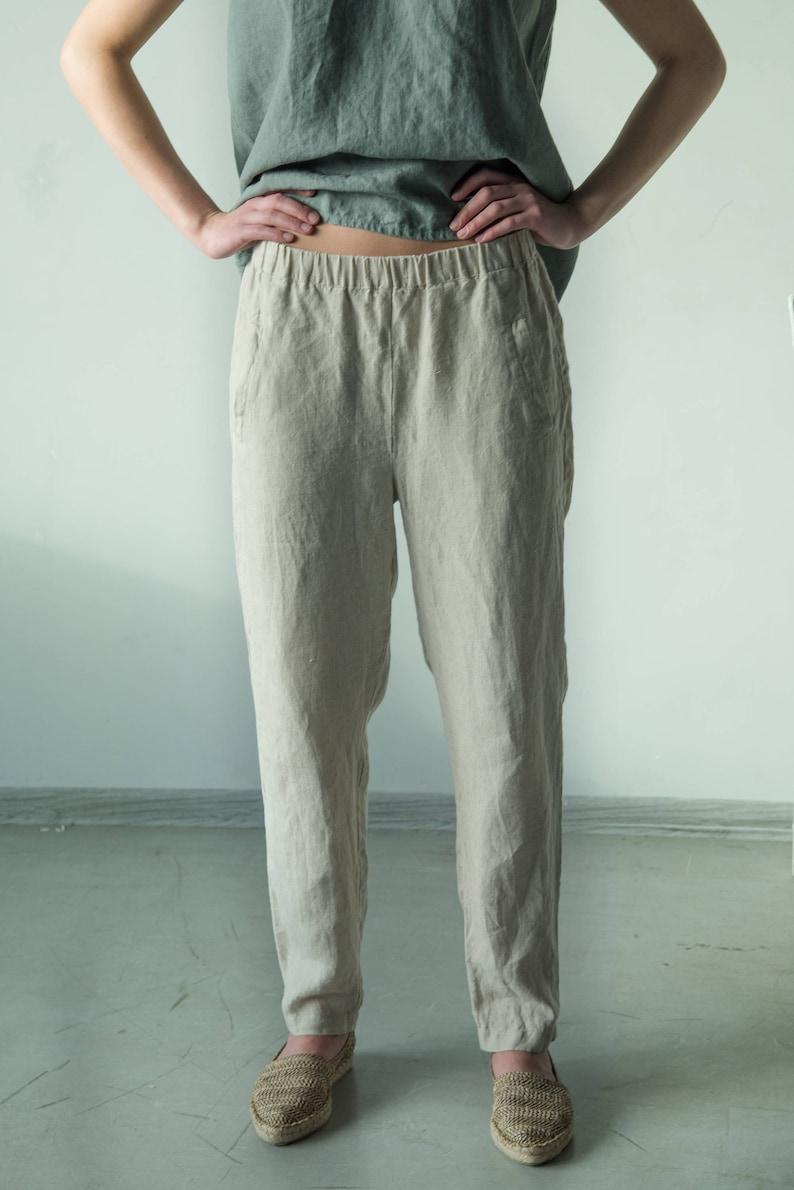 c38e2d97a4b Loose fit linen pants elastic waist pants summer pants | Etsy