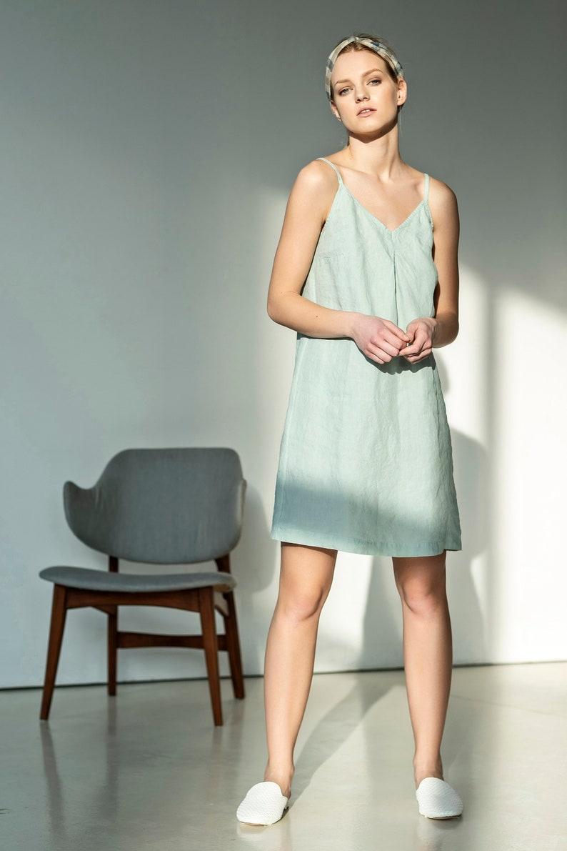 5685d2a58d8c NEW Short linen slip dress Linen summer dress Green mint | Etsy