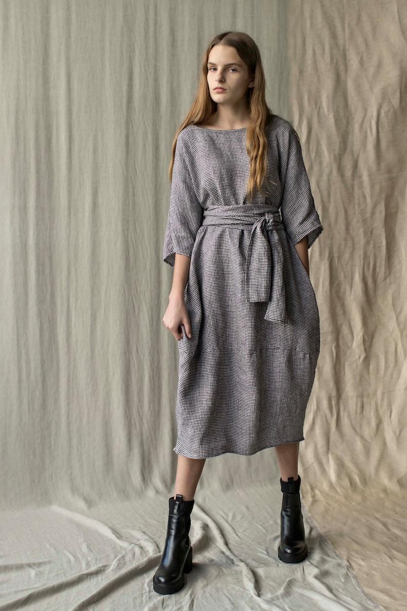 Linen dress winter dress kimono dress linen tunic oversized dress Lithuanian linen dress LUCKY