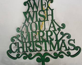BEAUTIFUL birchwood Christmas hand painted all green christmas hanging tree sign. We wish you a merry Christmas.