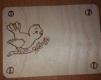 bird wooden plaque gift tag
