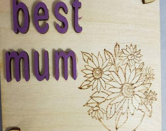 Mothers day unquie vase of flowers hand drawn with a her pen sign plaque