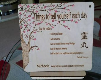 Handsmade crafted painted Personlised positive Reiki plaque and personlised unquie stand