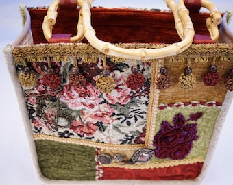 Boho bag, quilted bag, carpet vintage tapestry, quilting bamboo handles, #6