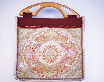 Quilted bag, carpet quilting beads wooden handles, #5