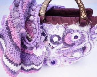 Quilted freeform bag, quilting embroidery beads, #1
