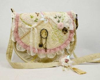 Boho chic bag, quilted bag, vintage, crossbody, lace bag #7