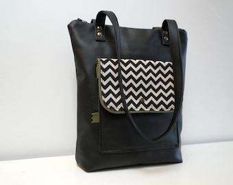 Bag Multi Pocket black print chevron khaki