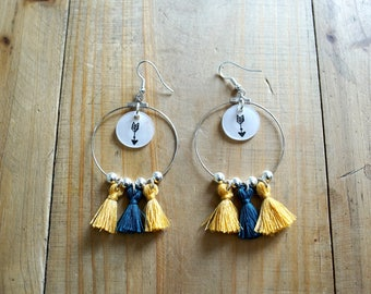 Arrow and yellow and blue green tassel earrings