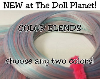 XL 2oz (57g) Hank 2 Color Custom BLENDED Nylon Doll Hair Hank for Rerooting Barbie® Monster High® Ever After High® MLP Royalty Disney