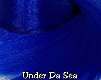 Under Da Sea Navy Blue Nylon Doll Hair Hank for Rerooting Barbie® Monster High® Ever After High® My Little Pony Fashion Royalty Disney