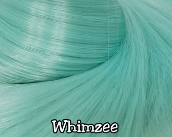 Whimzee Mint Green Nylon Doll Hair Hank for Rerooting Barbie® Monster High® Ever After High® My Little Pony Fashion Royalty Disney