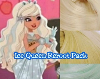 Ever After High Ice Snow Queen Princess Doll Re-root Pack Nylon Hair Blonde & Blue Color Blend Kit to make your own OOAK Doll INTL SHIP