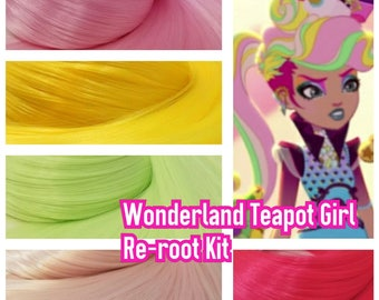 Ever After High Way Too Wonderland Teapot in Hair Girl Doll Hair Rerooting Pack for Customizing rooting your own OOAK Doll INTL SHIP
