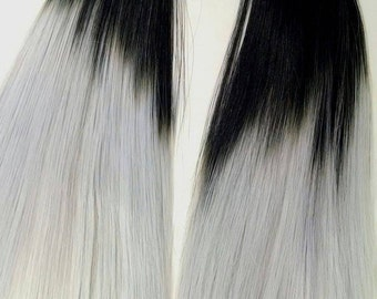 Ashes to Ashes Hand Dyed Ombre Black to Grey Nylon Doll Hair for Barbie, Monster High, Ever After, Integrity, Blythe, Rehair MLP INTL SHIP