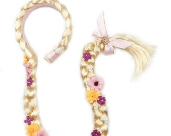 Halloween Costume hair piece Rapunzel Tangled Braided Clip On for girls