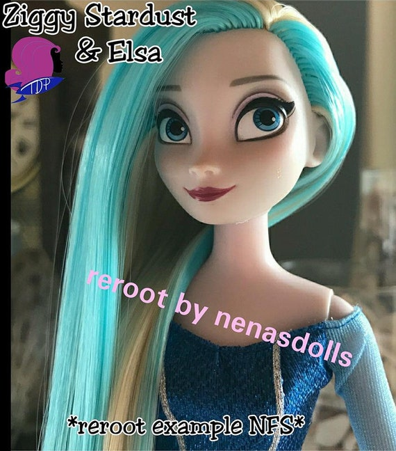 Ziggy Stardust Light Sky Blue Nylon Doll Hair Hank for Rerooting Barbie®