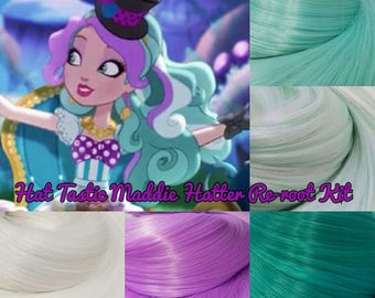 Ever After High Hat Tastic Maddie Hatter Version Custom Doll Nylon Hair Re-root Rerooting Kit Pack for Customizing DIY Doll INTL SHIP