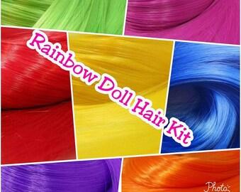 Bright Rainbow Nylon Doll Hair Rerooting Kit 7 Hanks Red, Orange, Yellow, Blue, Purple, Green & Fuchsia for OOAK Monster High Barbie MLP