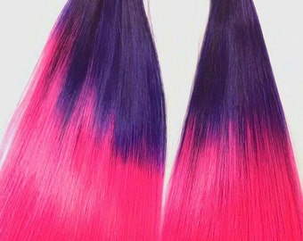Cheshire Hand Dyed Ombre Purple to Hot Pink Nylon Doll Hair for Barbie, Monster High, Ever After, Integrity, Blythe, Rehair MLP INTL SHIP