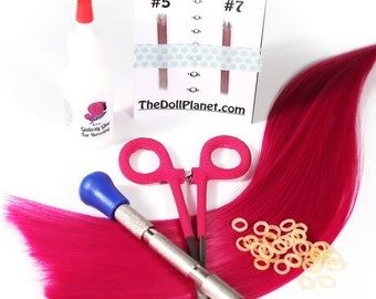 CELEBRATING 6 YEARS TDP Doll Deluxe Rerooting Starter Kit with Tools and Doll Hair Hank for Rerooting Most Dolls and My Little Pony