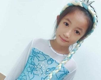 Halloween Costume hair piece Elsa Rapunzel Tangled Braided Clip On for girls