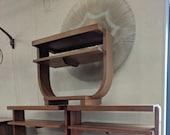 Mid Century Modern Brown Saltman Art Deco Tiered Table