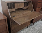 Mid Century Modern Solid Walnut Drop Leaf Secretary Desk
