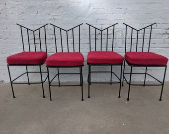 2e9baac97c7e3 Mid Century Modern Wrought Iron Dining Chairs