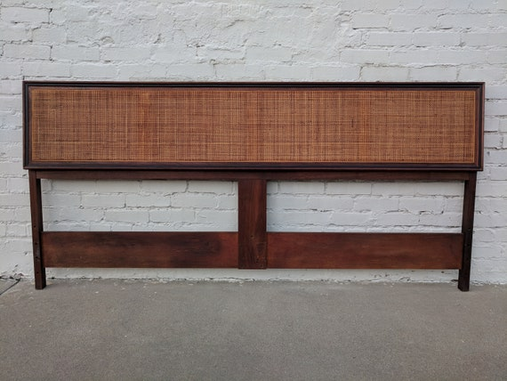 Mid Century Modern Jack Cartwright for Founders Cane and Walnut King Headboard
