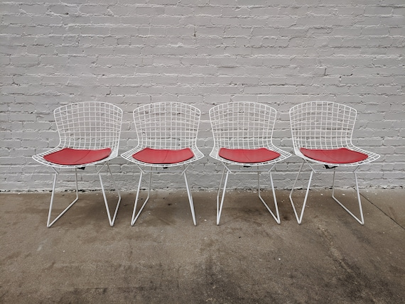 Mid Century Modern Bertoia White Wire Chairs with Cherry Red Seat Cushions