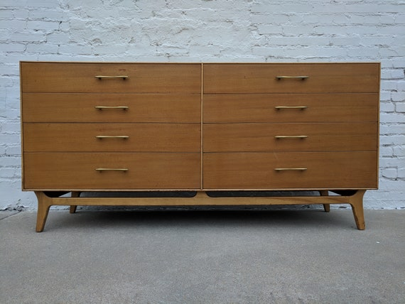 Mid Century Modern R Way Solid Maple Eight Drawer Dresser