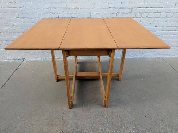 Mid Century Modern Conant Ball Solid Maple Drop Leaf Table