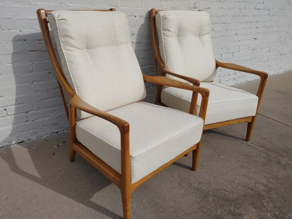 Mid Century Modern Solid Oak Recliners