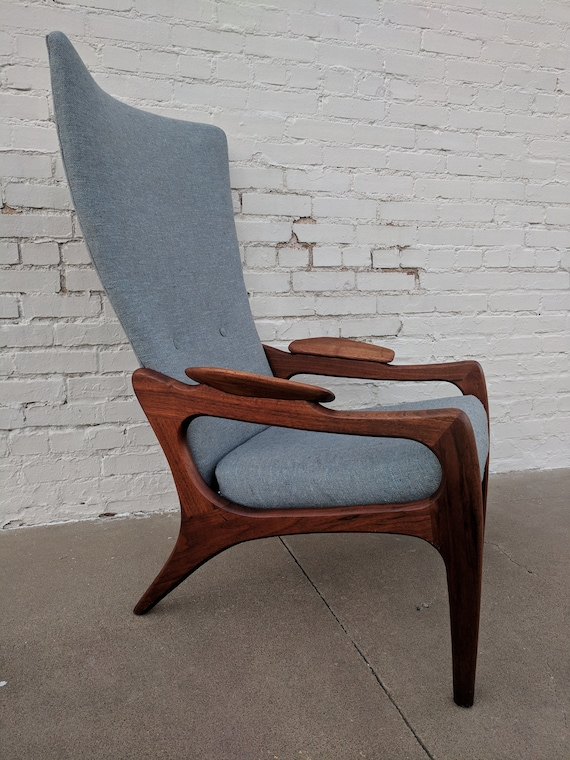 Mid Century Modern Adrian Pearsall Solid Walnut Sculptural Hight Back Lounge Chair