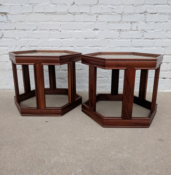 Mid Century Modern Pair of Saltman Hexagonal Side Tables