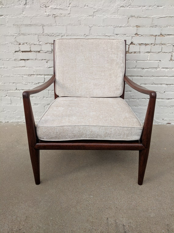 Mid Century Modern Solid Walnut Lounge Chair