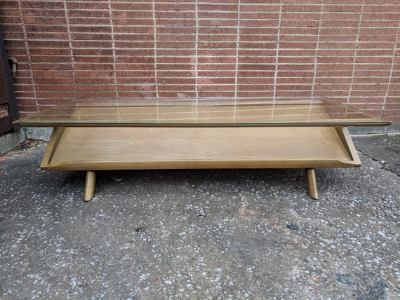 Mid Century Modern Brown Saltman Magazine Rack Coffee Table