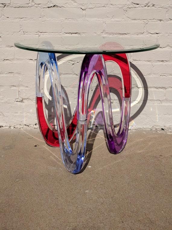 Modern Shlomi Haziza Colored Lucite Side Table