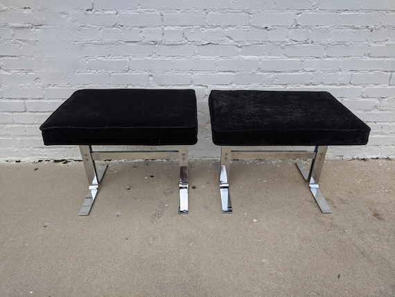 Mid Century Modern Baughman Inspired Stainless Steel Bench Seats