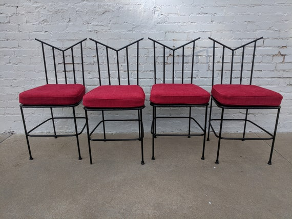 Mid Century Modern Wrought Iron Dining Chairs