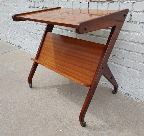 Mid Century Modern Rolling Bar Cart