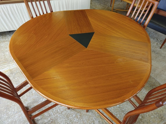 Mid Century Modern Danish Teak Extendable Dining Table by Skovby