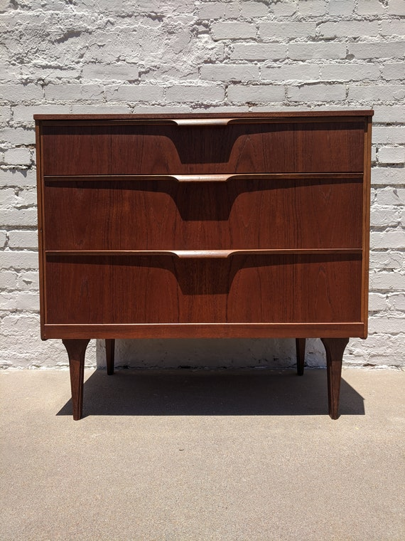 Mid Century Modern Teak Three Drawer Chest Dresser