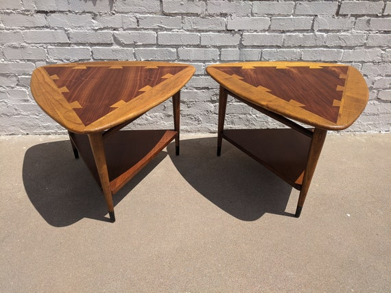 Mid Century Modern Lane Acclaim Guitar Pick Tables Pair