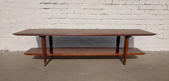Mid Century Modern Bissman Solid Walnut Double Tiered Coffee Table