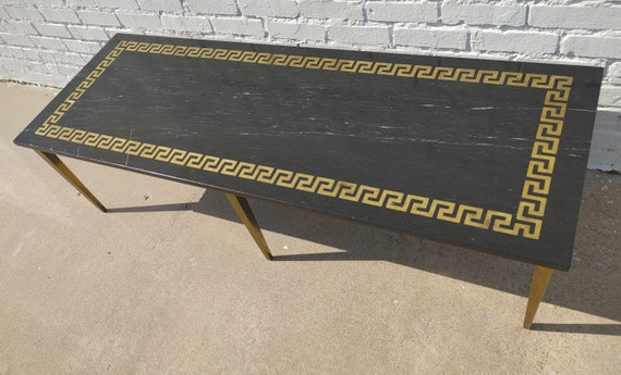 Mid Century Modern Greek Key Marble and Brass Table