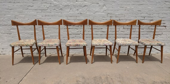Mid Century Modern Paul McCobb Maple Dining Table and 6 Chairs AS FOUND
