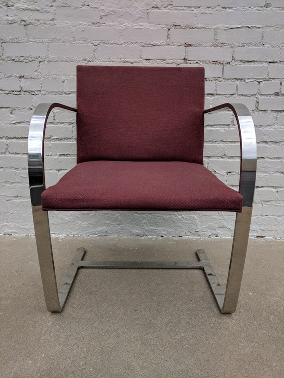 Mid Century Modern Miles van Der Rohe Flat Bar Chrome Chair